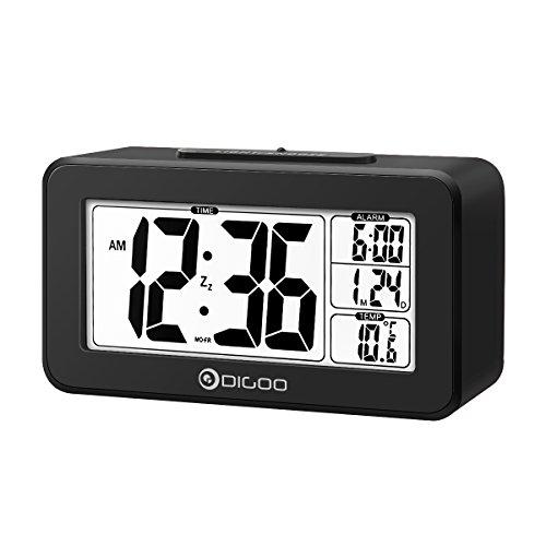 LCD Thermometer Digital Alarm Clock, DIGOO Desk Alarm Clock with Dual Alarm Setting, Sensitive Sensor White Backlit Indoor Temperature, Time & Date Display, Snooze Function(Black)