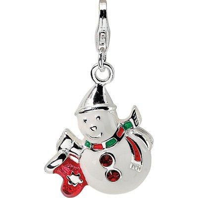 (Amore Swarovski Enamel Snowman Charm w/Lobster Clasp in Sterling Silver )