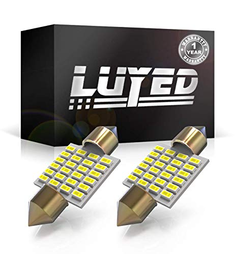LUYED 2 X 300 Lumens Super Bright 3014 24-EX Chipsets 31mm 1.25 inches DE3175 DE3021 DE3022 3175 LED Bulbs Used For Dome light,Xenon White