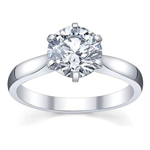 IGI Certified 2.02 Carat (ctw) 14K Round Diamond Ladies Solitaire Ring 2 CT, White Gold, Size 6.5