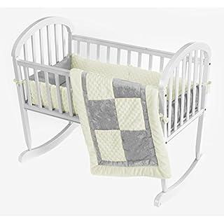 Baby Doll Bedding Croco Minky Cradle Bedding Set, Beige/Grey