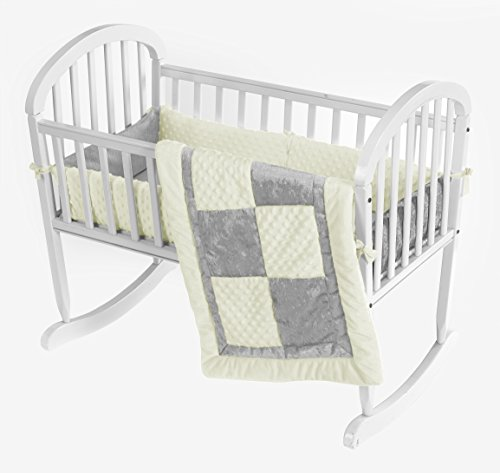 Baby Doll Bedding Croco Minky Cradle Bedding Set, Beige/Grey