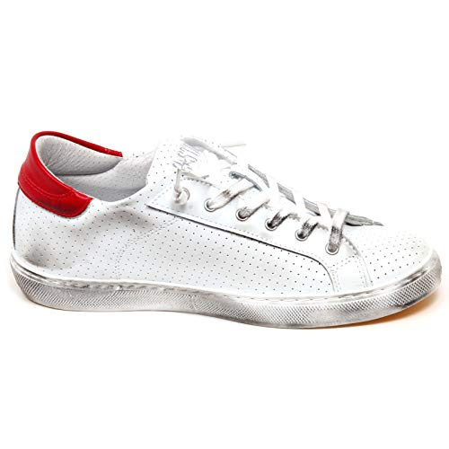 2star Donna F3716 Vintage Shoe White Sneaker Bianco Scarpe red Woman Effect rosso wrwgBZ1q