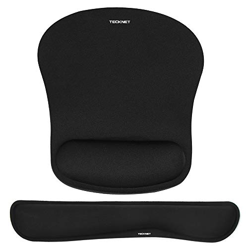 TECKNET Keyboard Wrist Rest and Mouse Pad with Wrist Support, Memory Foam Set for Computer/Laptop/Mac, Durable & Comfortable & Lightweight for Easy Typing & Pain Relief Ergonomic Mousepad