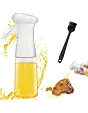 Olive Oil Sprayer for Cooking, 210ml Spray Bottle Oil Dispenser with Brush for BBQ Baking Roasting Grilling Salad Roasting Kitchen Gadgets (White)
