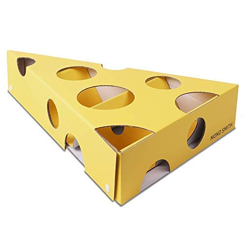 Mono Smith - Play and Treat Cheese Maze Cat Toy, Interactive Cardboard Feeder Box for Cats & Kittens ()