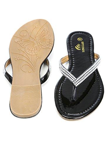 Relajarse Color O Elegantes De Suela Para Blanco Bodas Tacón Y Mujer Sandalias Brillantes Verano Con Cómoda Longclass Negro OBAZcUqw7