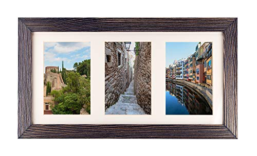 Rustic Wood Collage Photo Frame 8x16 inch - Made to Display Three (3) 4x6 inch Pictures with Mat for Wall Hanging - Dark Grey (Frame Photo 3 Opening)