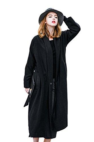 YOU.U Giuliana Mujer invierno abrigo de lana larga con cinturón - Oferta limitada