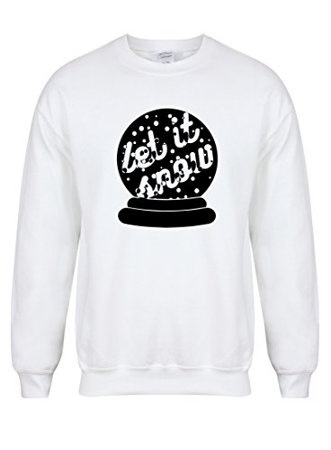 Kelham Print Unisex Slogan Sweater Jumper Let It Snow White Small with Black]()