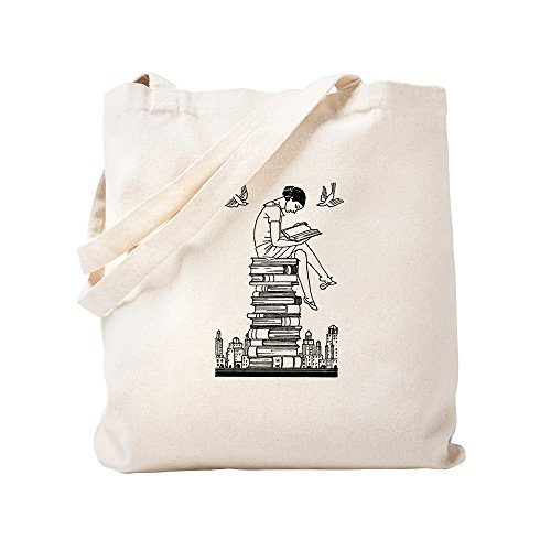 CafePress - Reading Girl Atop Books - Natural Canvas Tote Bag, Cloth Shopping Bag