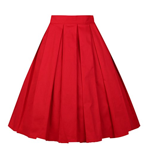 ated Vintage Skirt Floral Print A-Line Midi Skirts with Pockets Red XL (Reds And Vintage Skirt)