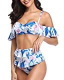 Tempt Me Women 2 Piece Off Shoulder Underwire Bandeau Floral Printed Bikini Top with High Waisted Bottom White XL