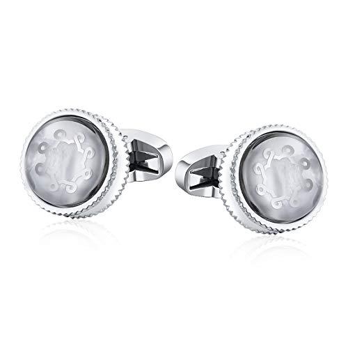 Aokarry Cufflinks - Men's Surgical Steel Cuff Links Silver Round Crystal Sawtooth Edge (Monogram Sawtooth)