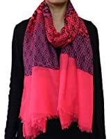 Seamaidmm Contrast Color Geometric Shape W/ Baby Fringe Voile Scarf Pink