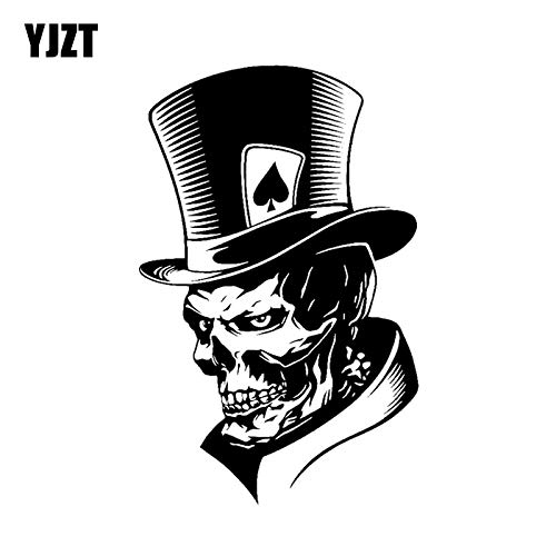 (Sticker Car 11.317.6CM Lovely Joker Skeleton Skull Playing Cards Poker Monster Hat Car Sticker Vinyl C12-0010)