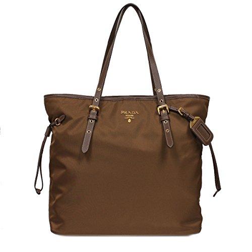 Prada Pocket Tote (PRADA BR4997 Tessuto Saffian Shopping Tote Bag Large Corinto Brown Shoulder Handbag Purse)