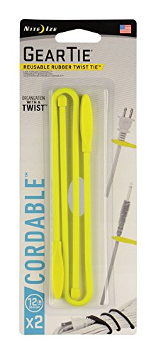 Nite Ize Gear Tie Cordable, The Orginal Reusable Rubber Twist Tie with Stretch-Loop for Cord Management + Storage, 12-Inch, Neon Yellow, 2 Pack, Made in The USA