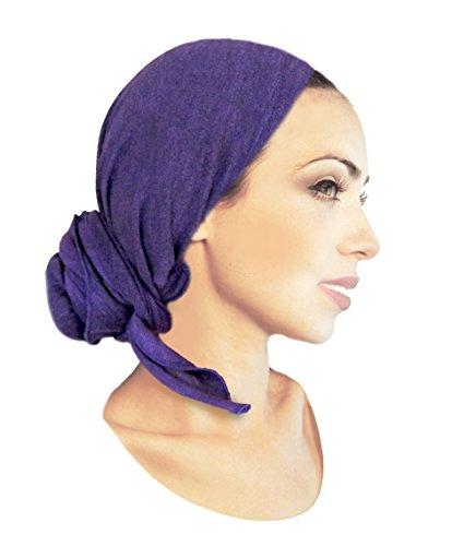 Tichel, Snood, Head Scarf, Chemo Hat, Pre Tied Bandana: Purple Knit Long