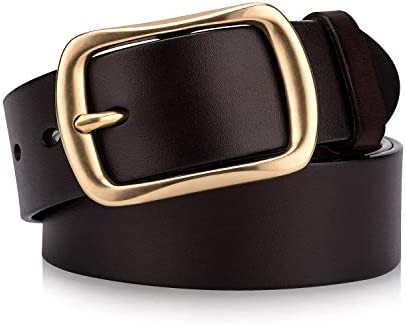 Mens brown leather jeans belt with solid brass buckle