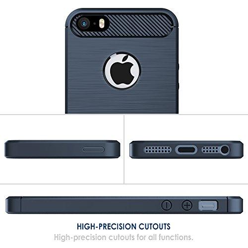 Funda iPhone SE/5S/5, Simpeak Funda Apple iPhone 5S/SE/5 carcasas para iPhone 5S/5 funda cases Suave TPU Anti deslizamiento, Azul Azul