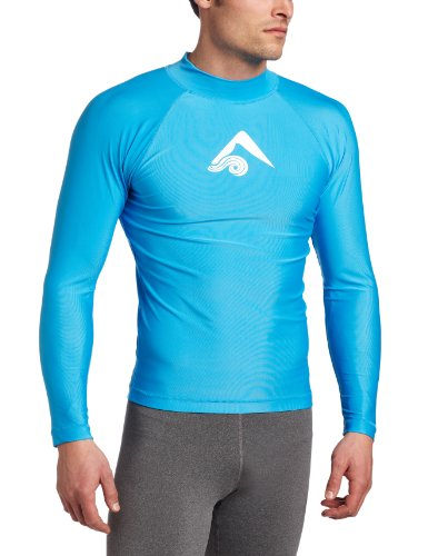 Kanu Surf Men's Long Sleeve Platinum UPF 50+ Rashguard Swim Tee, Aqua, X-Large ()