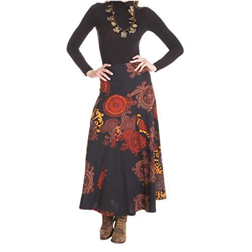 Femme imprime Jersey Coton LE Rouille Noir M Longue de ORANGE Jupe MOON S O6F1I