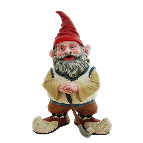 Nowaday Gnomes - Golfer the Gnome Dressed in Golf Attire Golfing with Golf Club & Golf Ball Home & Garden Figurine Statue 21