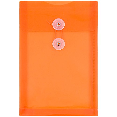 velopes with Button & String Tie Closure - 6 1/2 x 9 1/4 - Bright Orange - 12/pack (Button String Tie Envelope)