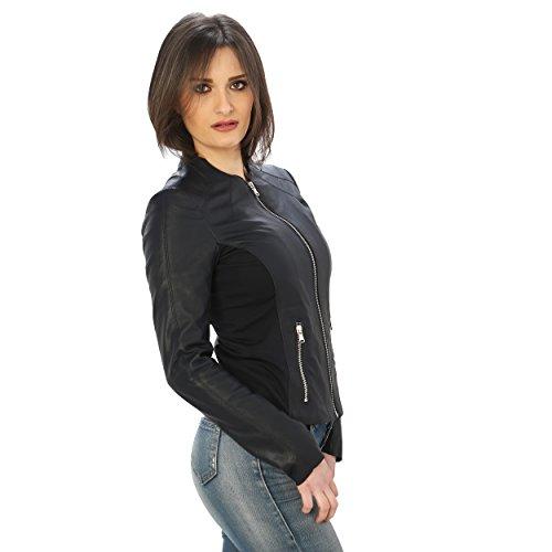 Donna Da Made Vera Blu Pelle In Aren Paricollo Italy Giubbino 1p0xwtfn