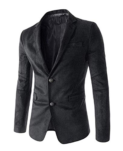 Comaba Men's Pure Color Big Pockets Business Suede Blazer Jacket Suits Black XL by Comaba