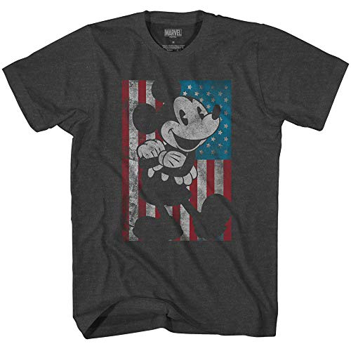 (Disney Mickey Mouse American Flag Classic Vintage Retro Distressed America Patriotic Graphic Men's Adult Graphic T-Shirt (Premium Charcoal Heather, Small))
