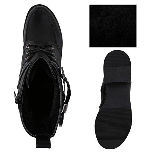 Stiefelparadies Damen Schuhe Biker Boots Winter Plateau Booties Gefütterte Stiefel Nieten Flandell Schwarz Black Cabanas