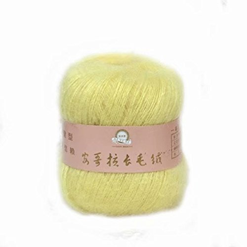 Celine lin One Skein Soft&Warm Angola Mohair Cashmere Wool Knitting Yarn 50g,Light yellow