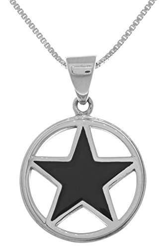 Jewelry Trends Pentacle Black Onyx Star Sterling Silver Pendant Necklace 18