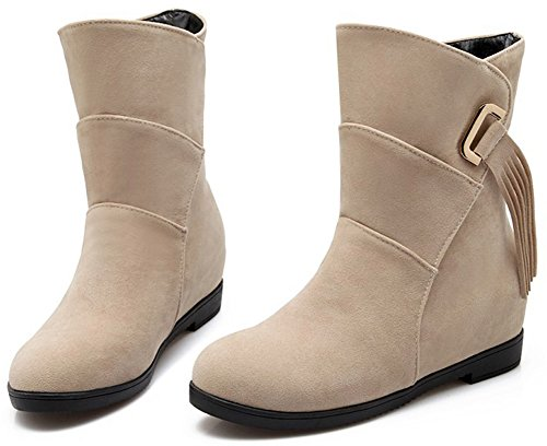 Easemax Women's Sweet Faux Suede Round Toe Wedge Mid Heels Inside Pull On Fringe Ankle High Booties Beige UzmtB