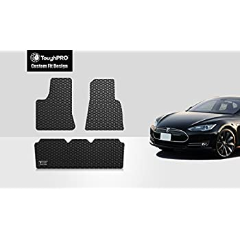 toughpro tesla model s floor mats 3pcs set all weather heavy duty black rubber. Black Bedroom Furniture Sets. Home Design Ideas