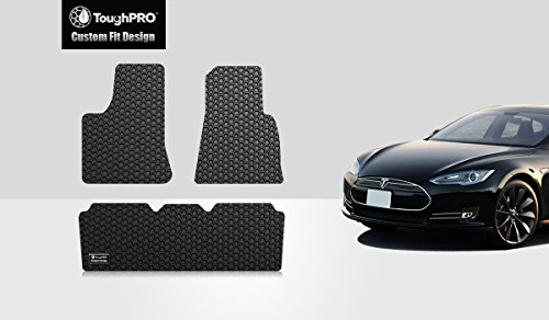 ToughPRO Tesla Model S Floor Mats 3pcs Set- All Weather - Heavy Duty - Black Rubber - (2012-2015)