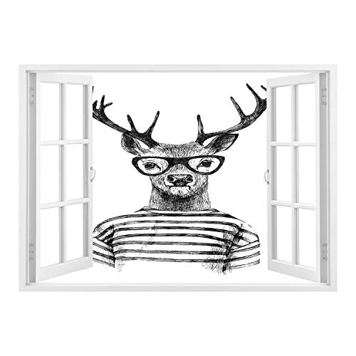 SCOCICI Peel and Stick Fabric Illusion 3D Wall Decal Photo Sticker/Deer,Dressed up Reindeer Headed Human Hipster Style with Glasses Stripped Shirt,Charcoal Grey White/Wall Sticker ()
