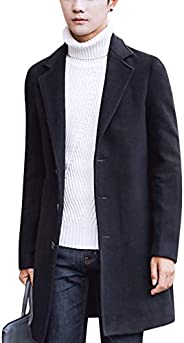 Springrain Men's Notched Lapel Single Breasted Long Pea Coat Trench