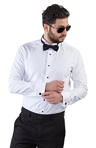 New Mens Tailored Slim Fit White Wing Tip Tuxedo Shirt French Cuff Wrinkle Free by Azar (Medium 15/15.5) ()