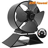 X-cosrack 4 Blade Heat Powered Stove Fan for Wood Log Burner Fireplace Silent Eco-Friendly Fan with Magnetic Thermometer Aluminium Black Small