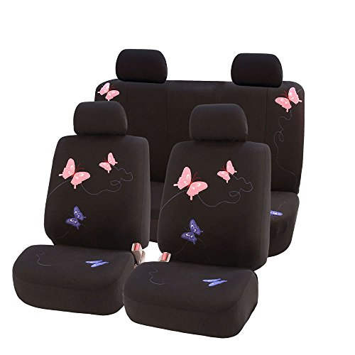 FH Group FB055114 Black Butterfly Embroidery Car Seat Cover (Full Set) ()