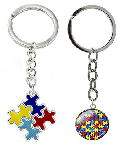 Autism Awareness Puzzle Piece Key Chain, 2 Pack (Set 4) - Awareness Key Chain