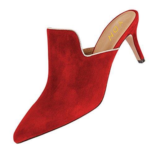Ydn Donne Mocassini Punta A Spillo Mocassini A Tacco Basso Muli Slip On Pantofole Scarpe Casual In Camoscio Rosso