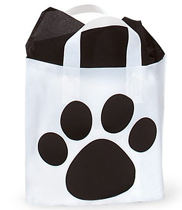Price comparison product image Dog Animal Paw Print Cake & Cupcake Party Supplies Decoration Toppers (Paw Print Bags Black Studio Shopping Gift Bags)