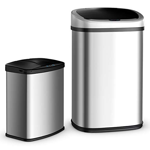 - Costzon Trash Can, 13 and 2.3 Gallon, Stainless Steel Sensor Trash Can for Kitchen, Bedroom, Bathroom, Office, Set of 2 (Stainless Steel)
