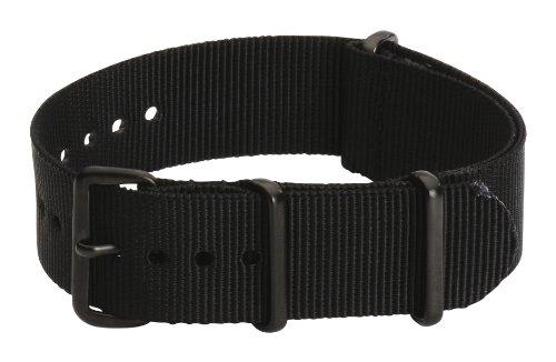 Clockwork Synergy Premium Nylon Nato Watch Straps bands PVD Black Hardware (18mm, Black)