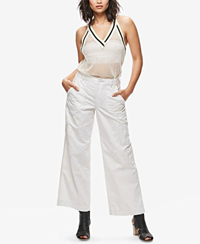 Wide Mid Leg Jeans Rise (Free People Womens Printed Mid-Rise Wide Leg Jeans White 0)