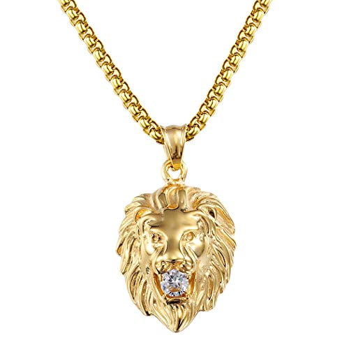 Ineffable Stainless Steel Vintage Lion Head Pendant Necklace Rope Chain Jewelry Punk Style (Gold)